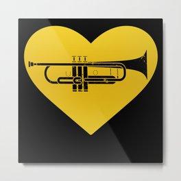 Trumpet Heart Musician Trumpeter Jazz Metal Print