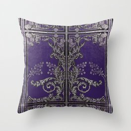 Blue and Silver Thistles Throw Pillow