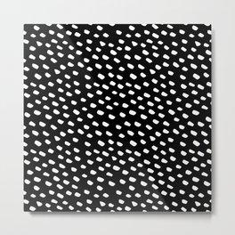 Brush Dot Pattern Black Metal Print