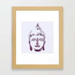 Buddha Head violet - grey Framed Art Print