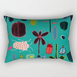 bugs and insects green Rectangular Pillow