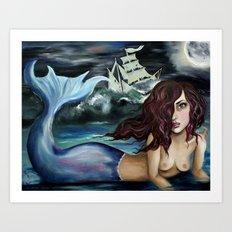 Ghostship Mermaid  Art Print
