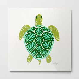 Sea Turtle – Green Palette Metal Print