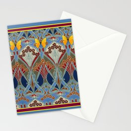 Grey-Burgundy Color & Yellow Art Nouveau Butterfly Design Stationery Cards