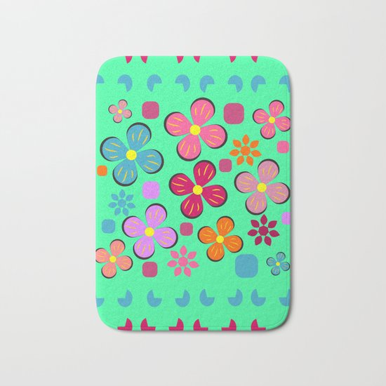 Funny flowers Bath Mat