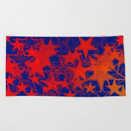 Vector blue background in red stars. For registration of paper or banners. Beach Towel
