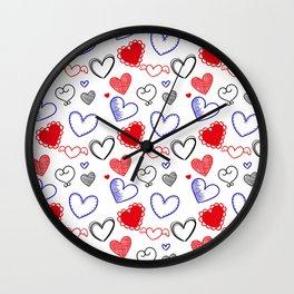 Draw hearts Wall Clock