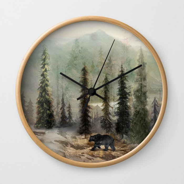 Mountain Black Bear Wall Clock