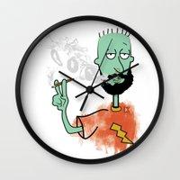 jay fleck Wall Clocks featuring beard on fleck 3 0f 4 by Cimone Key
