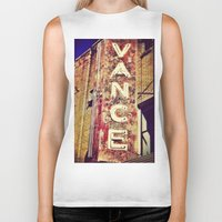 theater Biker Tanks featuring vintage theater sign by melissamartin