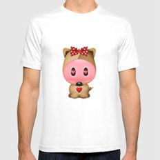Love Bear White MEDIUM Mens Fitted Tee