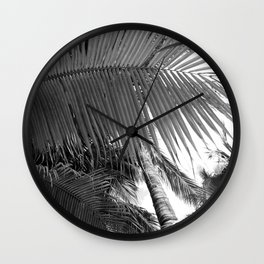 Palm tree black and white Wall Clock
