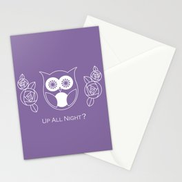 Up All Night? Cute Retro Owl and Roses Stationery Cards