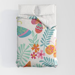 Festive, Colorful Butterfly and Floral Garden Comforters