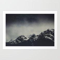 Misty dark Mountains Art Print