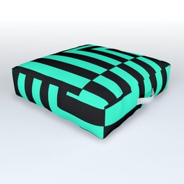 GRAPHIC GRID DIZZY SWIRL ABSTRACT DESIGN (BLACK AND GREEN AQUA) SERIES 5 OF 6 Outdoor Floor Cushion