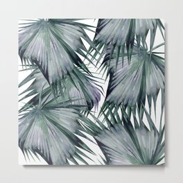 Tropical Leaves Green Metal Print