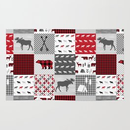 Plaid camping cabin outdoors nature quilt design gender neutral kids baby design Rug