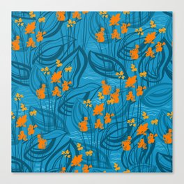 Pattern with orange water flowers on blue background Canvas Print