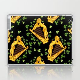 Irish harp and shamrocks on a black Laptop & iPad Skin