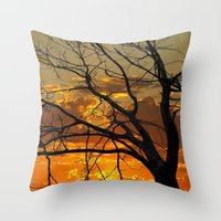 jewish Throw Pillows featuring Sunset Tree by Brown Eyed Lady