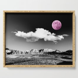 Black Desert Sky & Fuchsia Moon // Red Rock Canyon Las Vegas Mojave Lune Celestial Mountain Range Serving Tray
