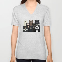 Bear family portrait Unisex V-Neck