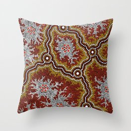 Aboriginal Art Authentic - Bushland Dreaming Ppart 2 Throw Pillow