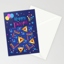 Happy Purim Festival Jewish Holiday Symbols Grogger, hamantaschen cookies, masque, confetti Illustration  Stationery Cards