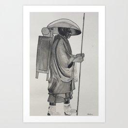 Japanese Henro Pilgrim Art Print