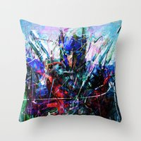 optimus prime Throw Pillows featuring OPTIMUS PRIME by Raditya Giga