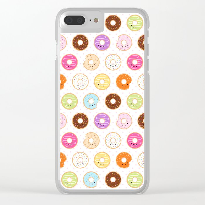 Happy Cute Donuts Pattern Clear iPhone Case