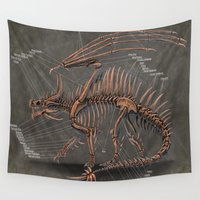 western Wall Tapestries featuring Western Dragon Skeleton Anatomy by Rushelle Kucala Art