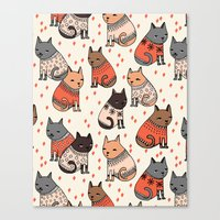 sweater Canvas Prints featuring Sweater Cats - by Andrea Lauren by Andrea Lauren Design