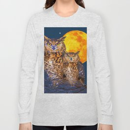 TWO OWLS IN FULL MOONSCAPE NIGHT Long Sleeve T-shirt