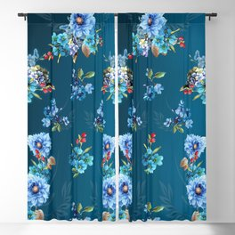 Cornflower Blues in Watercolor Blackout Curtain