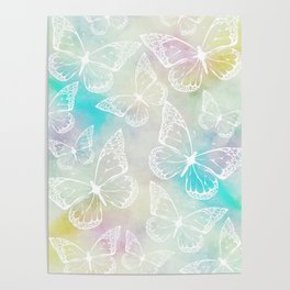 Pastel colored butterfly pattern, girly trend vintage design Poster