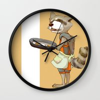 rocket raccoon Wall Clocks featuring Rocket Raccoon by Negative Dragon