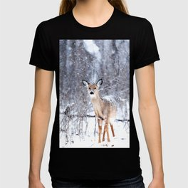 Deer In Snow T-shirt