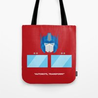 optimus prime Tote Bags featuring Optimus Prime by IlPizza