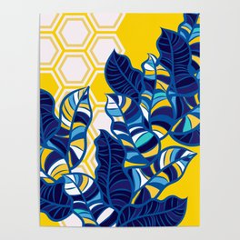 Geo Pop Foliage on Yellow & White Poster