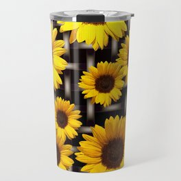 Bright Yellow Sunflower and Industrial Grid Pattern Travel Mug