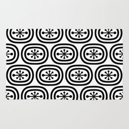 Mid Century Modern Atomic Bands Pattern Black and White Rug
