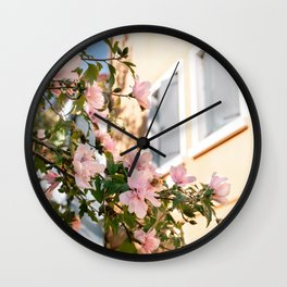 Pink flowers on yellow background - Colorful flowers Burano, Venice Italy - Burano travel Art Print Wall Clock
