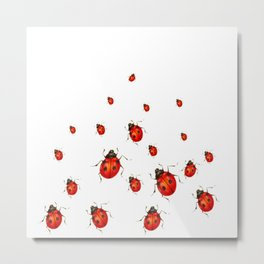 ABSTRACT RED LADY BUGS CRAWLING ON WHITE COLOR Metal Print