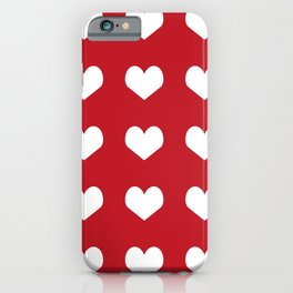 Hearts red and white minimal valentines day love gifts minimal gender neutral iPhone Case