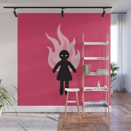 Beware of The Angry Girl - Pink Flames Wall Mural