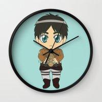 shingeki no kyojin Wall Clocks featuring Shingeki no Kyojin - Chibi Eren Flats by Tenki Incorporated