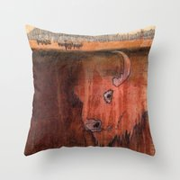 bison Throw Pillows featuring Bison by Pat Butler