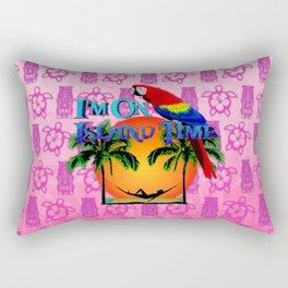 Pink Tiki Island Time And Parrot Rectangular Pillow